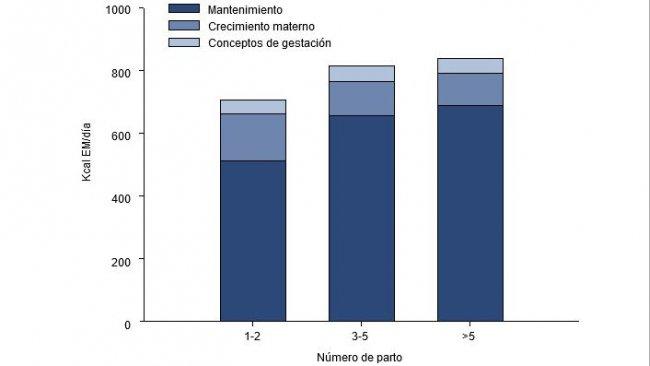 Fabbisogni di energia (EM, kKcal/d) durante gli ultimi 2,5 mesi di gestazione per una scrofa giovane, adulta e vecchia.