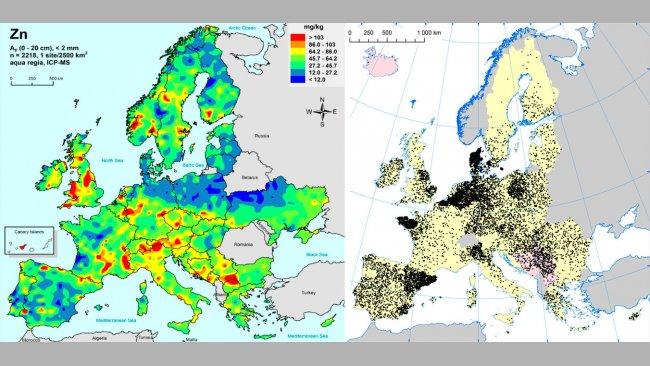 A sinistra: Zinco nei terreni agricoli della UE (Gemas 2014): Livelli di zinco sulla superficie dei suoli (20 cm superiori) nei terreni agricoli in Europa (preso da Reimann et al., 2014). A destra: Allevamenti di suini nella UE (Eurostat, 2014).