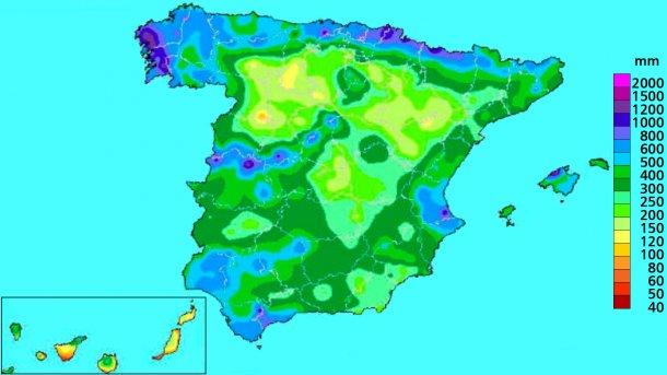 Immagine 4: Precipitazione accumulata nell'anno idrologico. Fonte: AEMET