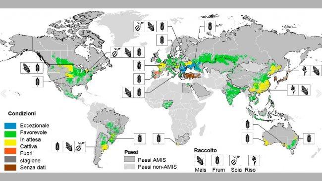 Immagine 1. Mappa delle condizioni delle coltivazioni nel mondo. Aggiornato a luglio 2017. Fonte GEOGLAM.