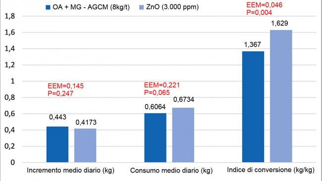 Figura 1. Effetti della sostituzione del ZnO (3.000ppm) con una miscela di acidi organici e monogliceridi di acidi grassi a media catena (OA+MG-AGCM, 8kg/t) nella fase starter nei suinetti (8 repliche/trattamento, 12 suinetti per replica). Il modello includeva il trattamento, la dimensione dei suinetti all'nizio (P<0,001 per il peso finale e l'accrescimento) e la loro interazione (P>0,05). EEM=errore standard dalla media.