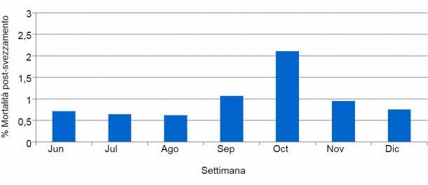 Grafico2. % Mortalità post-svezzamento prima e durante l'episodio di PED