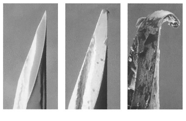 Figura 1: Foto di aghi ipodermici che dimostra come si consumano.