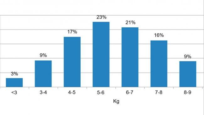 Figura 2. Distribuzione degli animali in base al peso all'ingresso dello svezzamento. La differenza tra il 5% dei suini con meno peso e il 5% con più peso è di 6 kg.