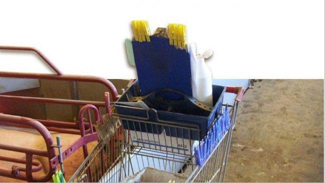 Le mollette utilizzate sono trasportate in un carrello con parte del materiale necessario giornalmente