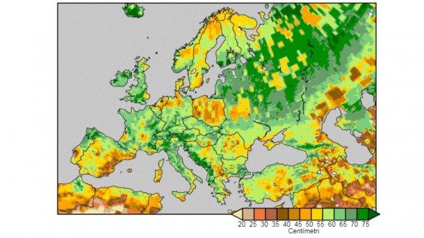 Grafico 3. Umidità del suolo misurata come quantità di acqua(cm) in2 metrisuperficiali, al 9 di aprile del 2018. Fonte: National Centers for Environmental Prediction.