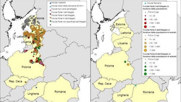 Carta geografica dei focolai di PSA nei cinghiali(sinistra) e suinidomesticidichiarati inEstonia, Lettonia, Lituania, Polonia, Rep. Ceca e Romania nel 2018 (fino al 25/04/2018) (Fonte RASVE-ADNS)