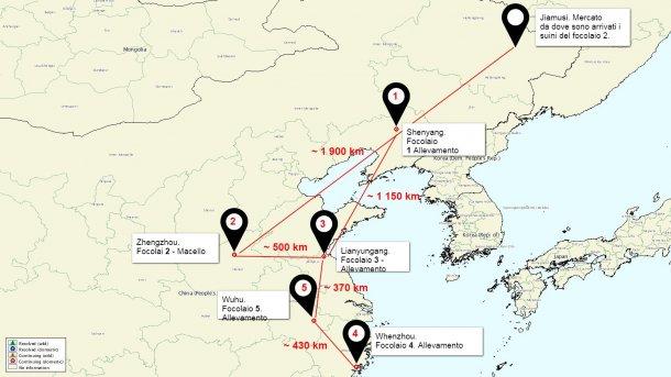 Mappa della situazione dei focolai di PSA in Cina