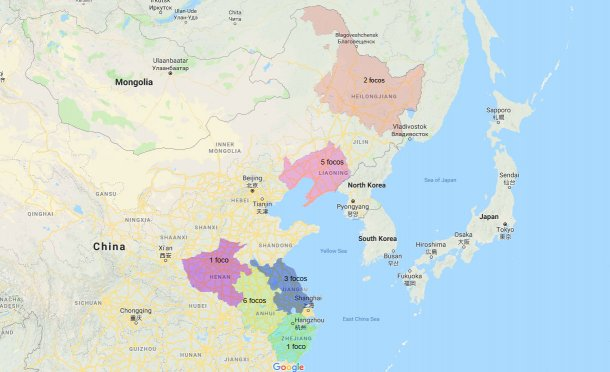 Provincie colpite dalla PSA e N° di focolai(aggiornato al 10 settembre)