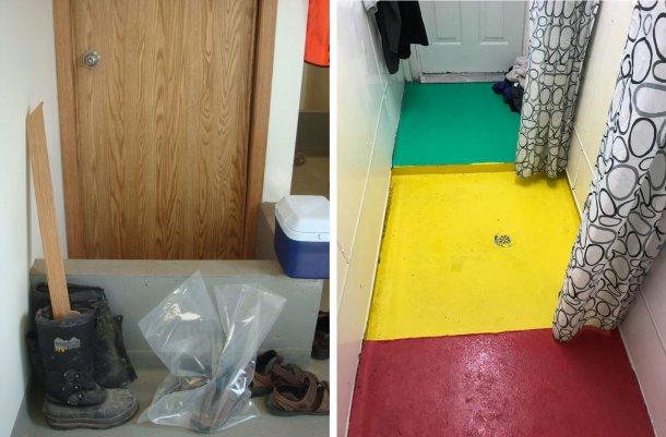 Sinistra:Separazione delle zone all'interno dell'allevamento. Il murettoricorda agli operai il punto di cambio obbligatoriodelle scarpetra l'ingresso dell'allevamento(sporco) e l'area della doccia. Foto per gentile concessione del Dr. Tim Snider. Destra: Esempio di separazione delle aree all'interno della zona doccia. Rosso = Area sporca; Giallo = Zona intermedia; Verde = Area pulita. Foto per gentile concessione di Mike Luyks, Kaslo Bay, centro di inseminazione PIC, Canada.