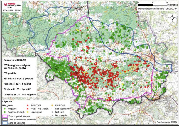 Mappa del limite delle zone e localizzazione dei cinghiali infetti fino al 25 marzo 2019.