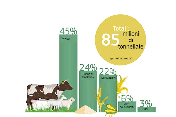 Fornitura di proteine vegetali dellUE: percentuale di fonti proteiche