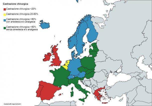 Fonte: Seconda relazione intermedia 2015 - 2017 sulla dichiarazione europea sulle alternative alla castrazione chirurgica dei suini