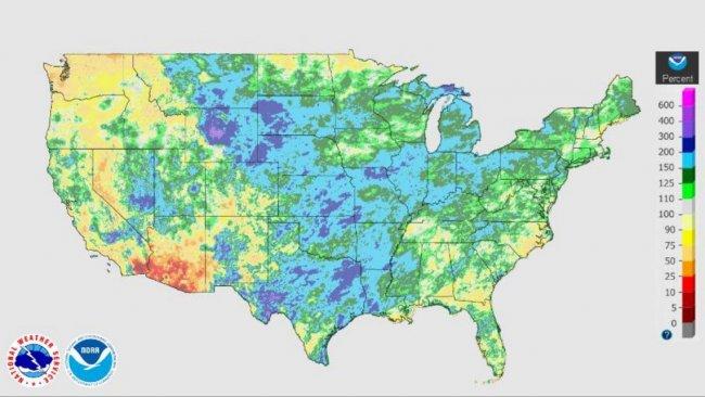Precipitaciones en EEUU: 30 de marzo-26 de junio.